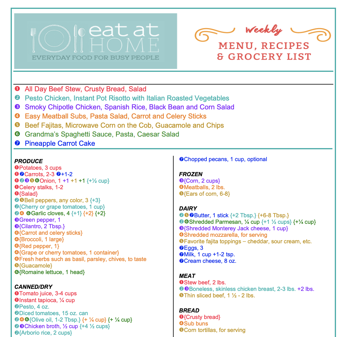 Get the Eat at Home Menu Plan Service for just $1.13/week!