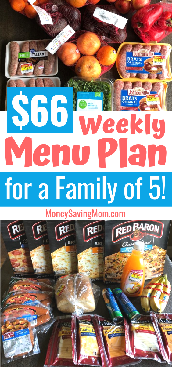 This $66 weekly menu plan for a family of 5 is really inspiring and full of all kinds of practical ideas to plan a menu on a budget!