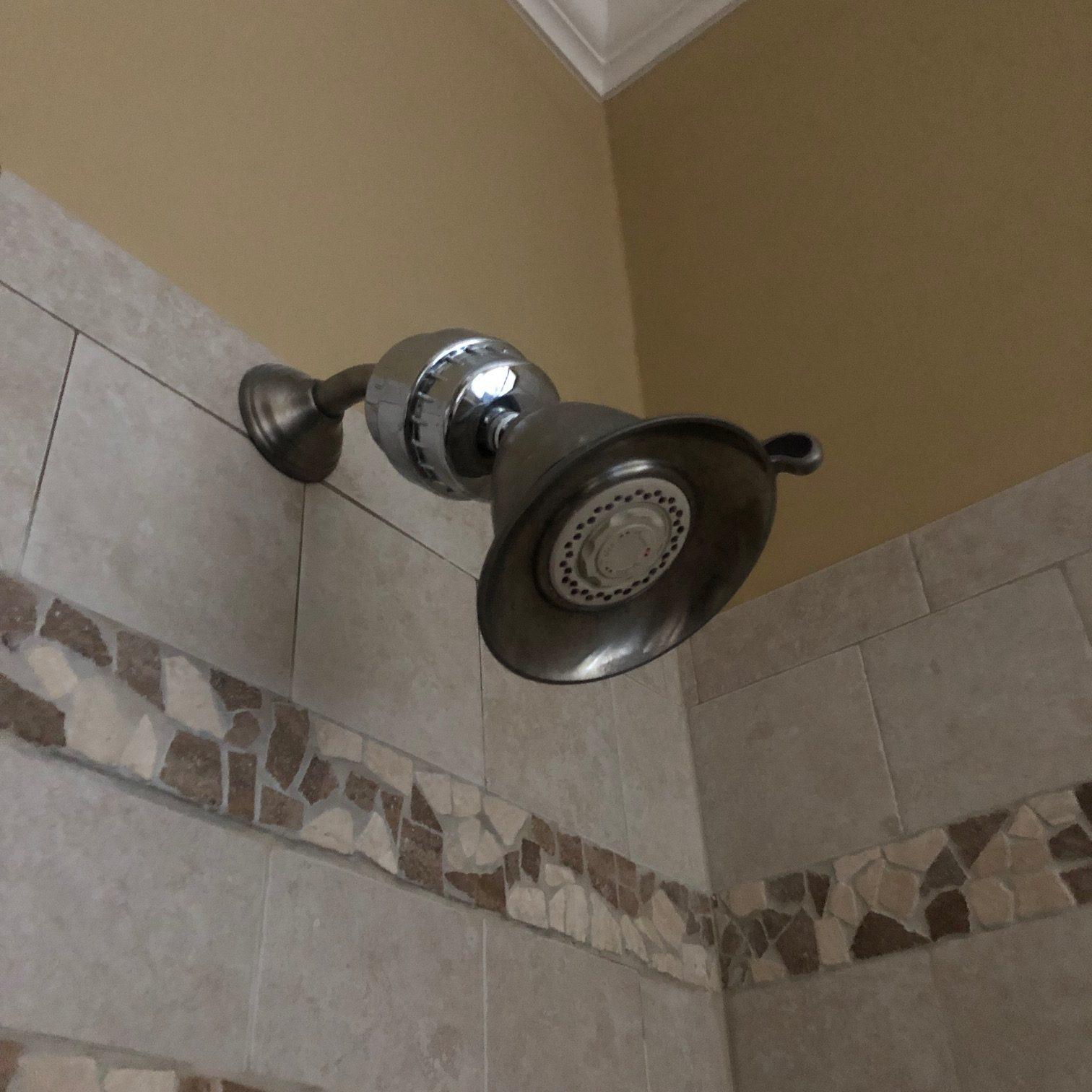shower head in tile shower