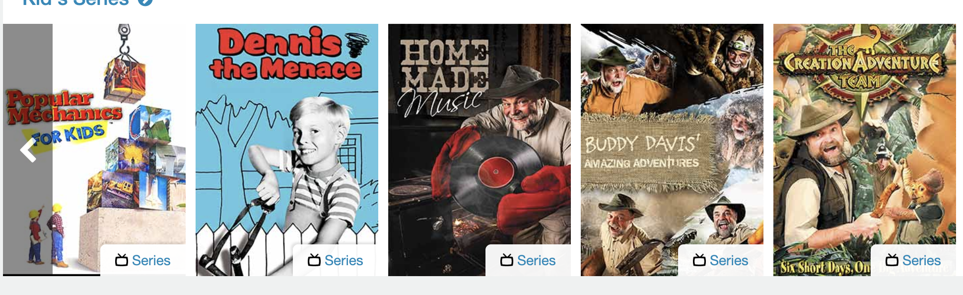 kid's series and movies on Pure Flix