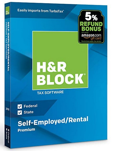 H&R Block Tax Software Deluxe + State 2018 with 5% Refund