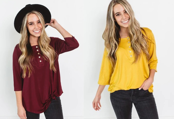 Long Sleeve Henley Tunic