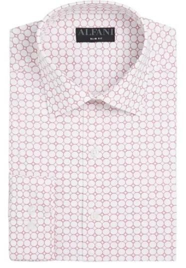 AlfaTech by Men's Athletic Fit Performance Print Dress Shirt