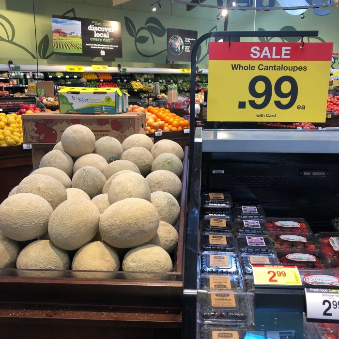 A photo of $0.99 cantaloupe