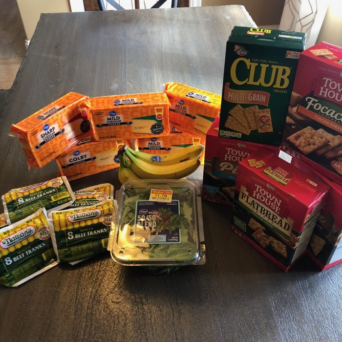 A photo of my groceries from Kroger for our $70 budget