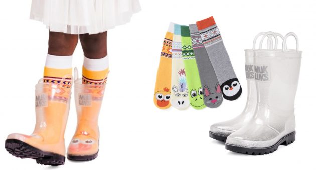 Muk Luks Rainboots with Cute Socks