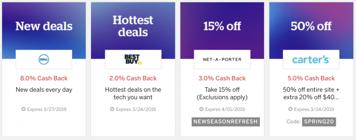 Rakuten Ebates cash back offers