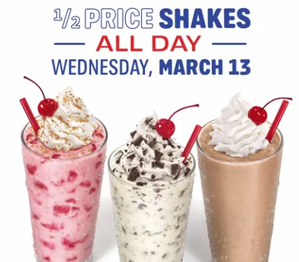 Sonic Half Priced Shakes