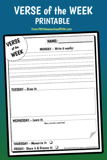 Free Bible Verse of the Week Printable