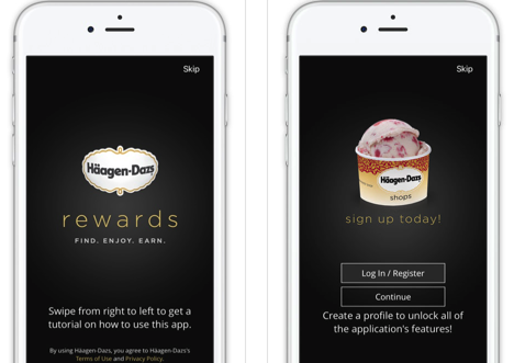 Haagen-Dazs Sweet Rewards Mobile App