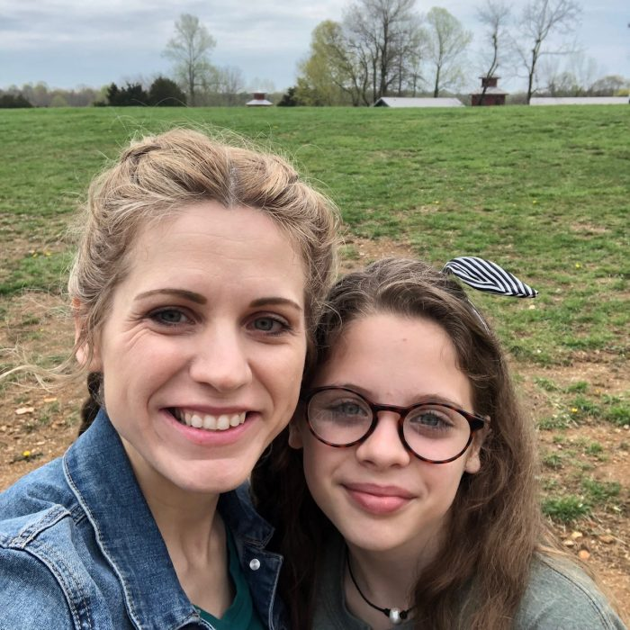 a photo of Crystal Paine and her daughter