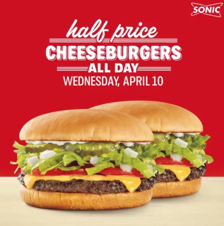 Sonic: Half-Priced Cheeseburgers