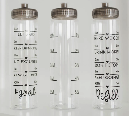Three styles of Water tracker bottles