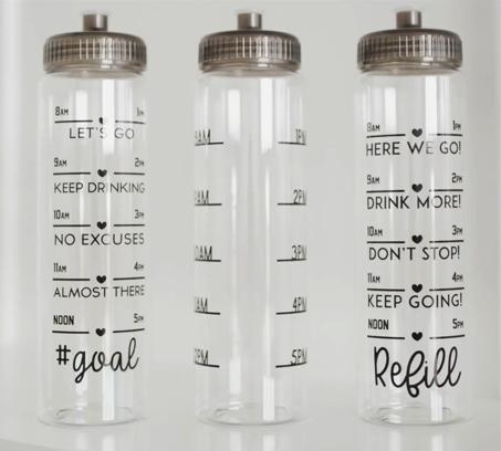 Three styles of Water tracker bottles