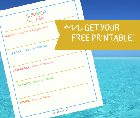 Free Printable Summer Fum Schedule