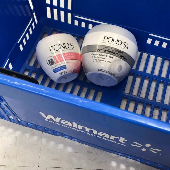 close-up of Pond's products in Walmart shopping basket