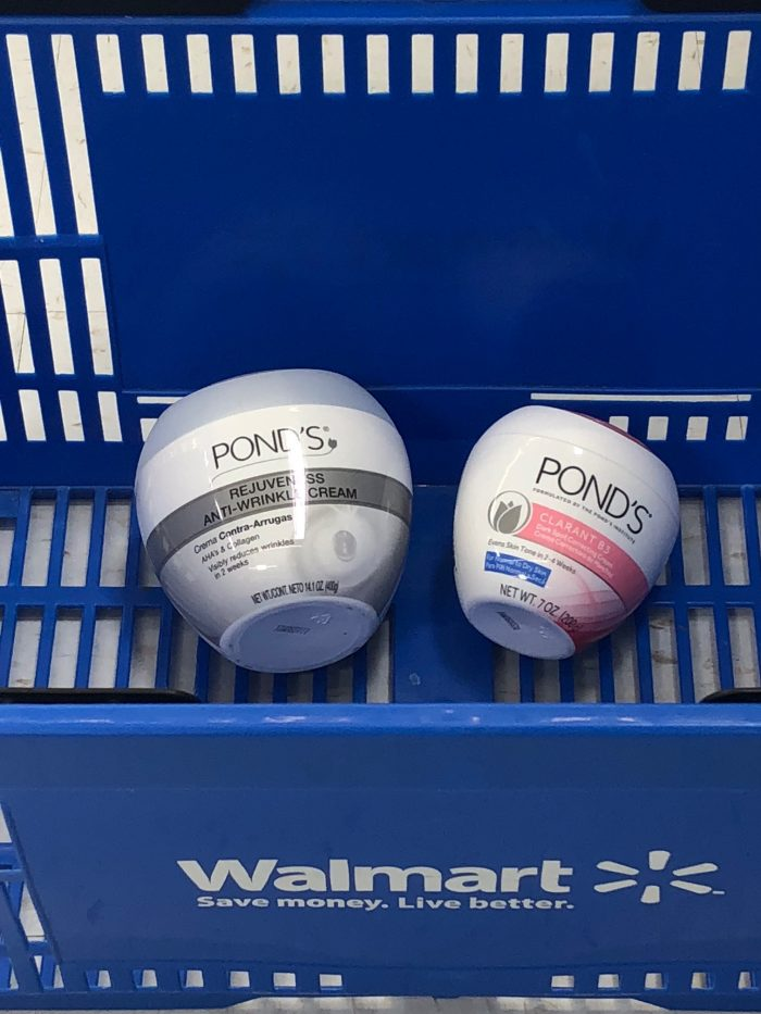 Pond's products in Walmart shopping basket