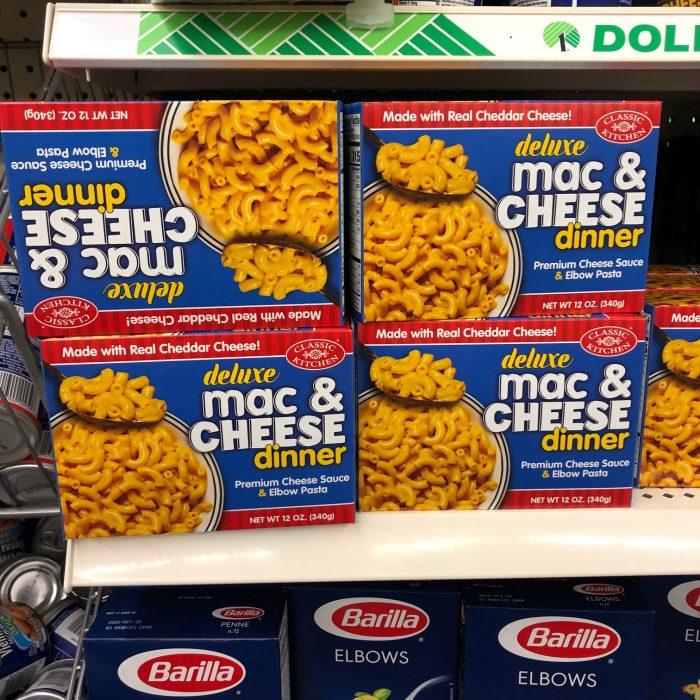 mac and cheese at Dollar Tree