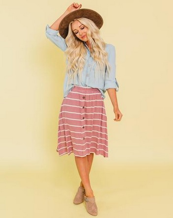 Sunny Stripe Button Down Skirt