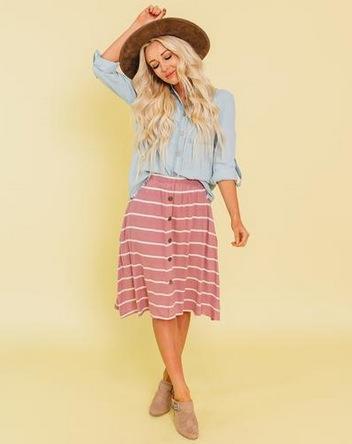 Sunny Stripe Button Down Skirt