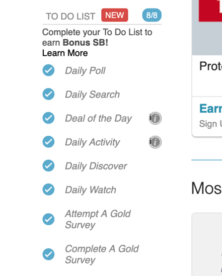 Swagbucks to do list