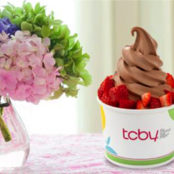 TCBY yogurt and flowers
