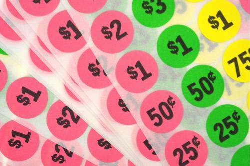 circular peel and stick price tags