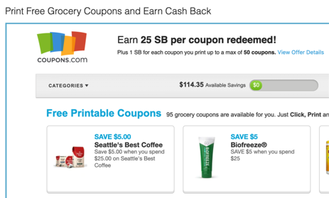 print coupons to earn Swagbucks fast