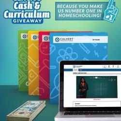 Calvert Curriculum and Cash next to laptop