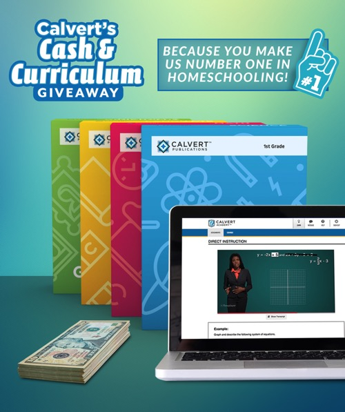 Calvert Curriculum and Cash next to laptop