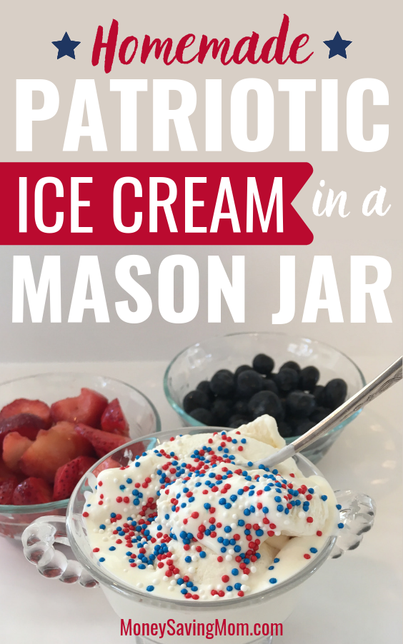 Homemade 4th of July Patriotic Ice Cream in a Mason Jar
