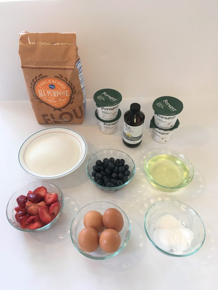 ingredients for strawberry and blueberry muffins