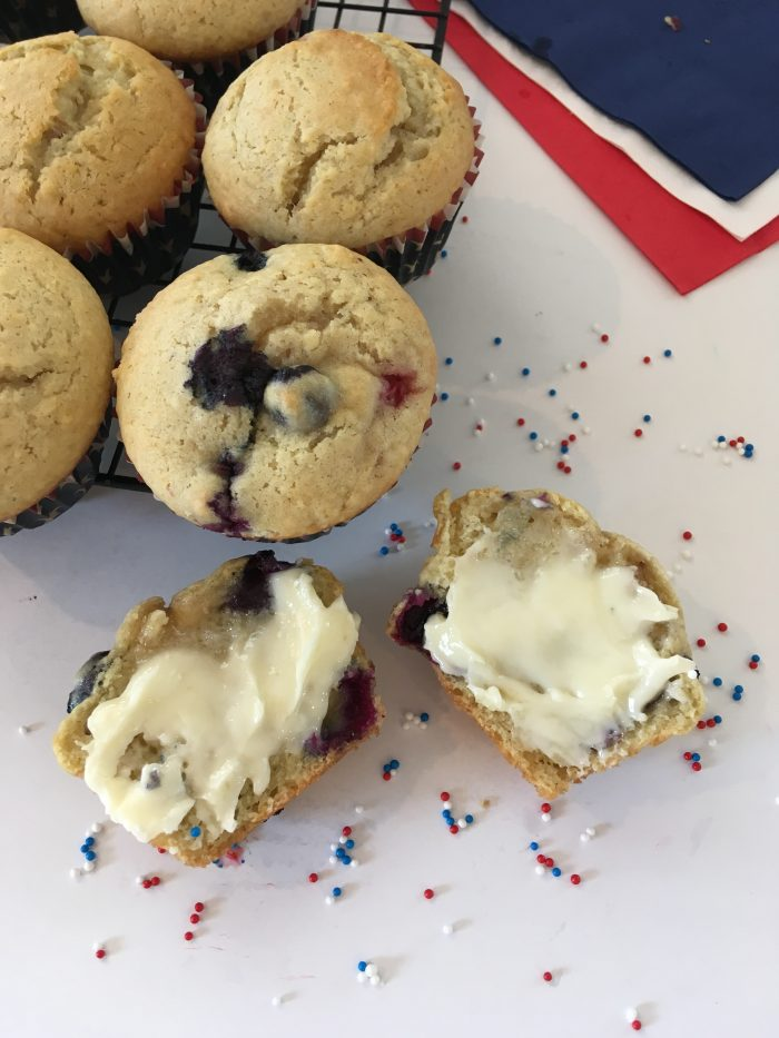 4th of July muffins slathered in butter with confetti