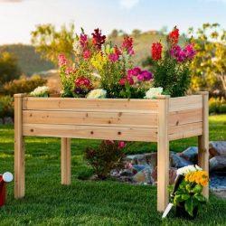 Raised Rectangular Wood Garden Bed Planter Stand