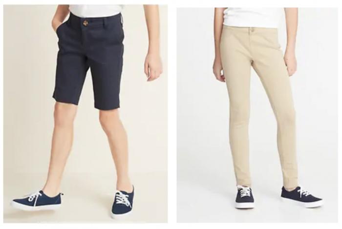 girl's bermuda shorts and uniform pants