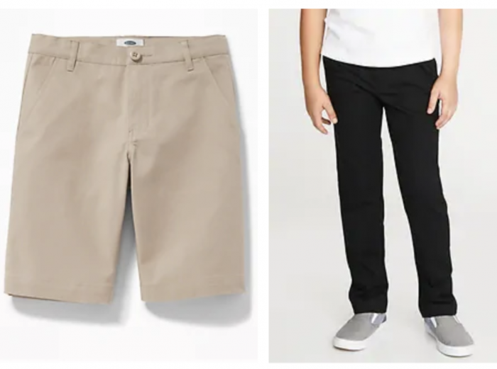 boy's uniform shorts and pants