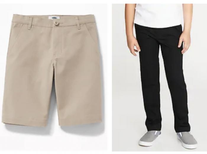 boy's uniform shorts and pants