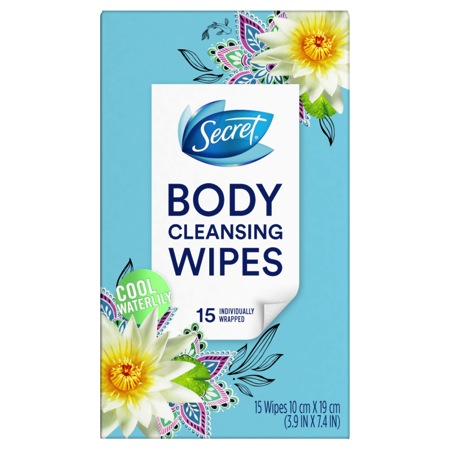 Secret Body Cleansing Wipes 15-Count