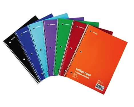 Staples One Subject Notebooks