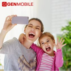 Mom and Kid Selfie on Gen Mobile Phone