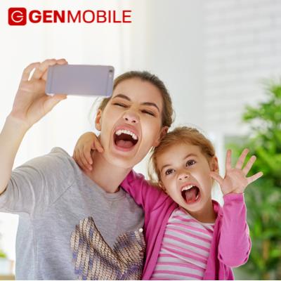 Mom and Kid Selfie on Gen Mobile Phone
