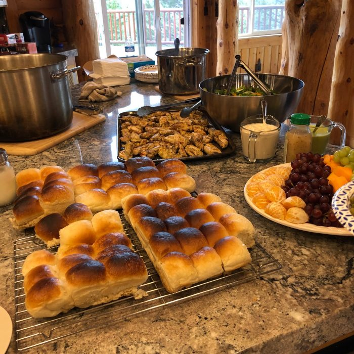 easy meals for 20 people: hawaiian rolls, chicken, and fruit