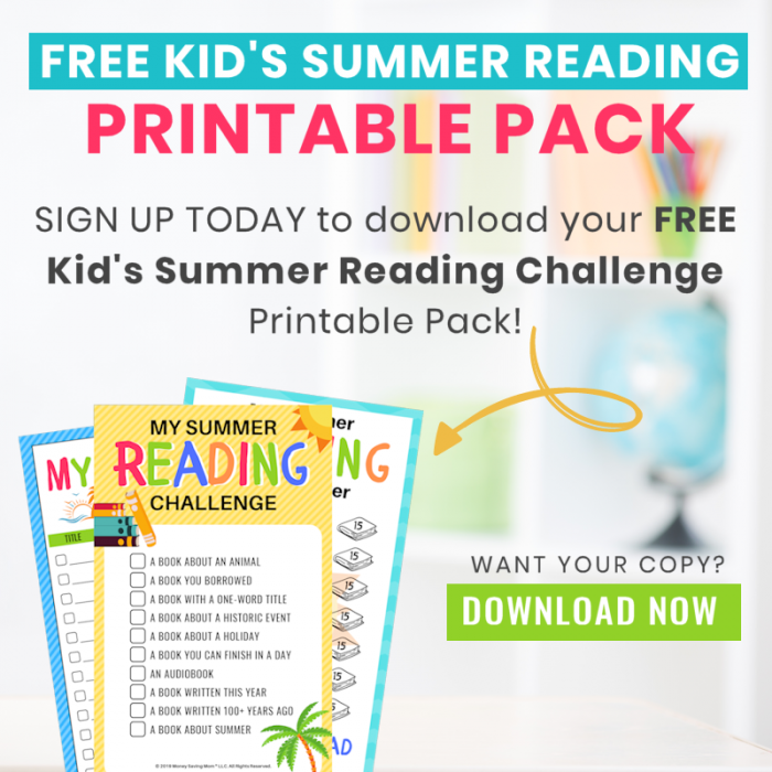 free kid's summer reading challenge printable pack