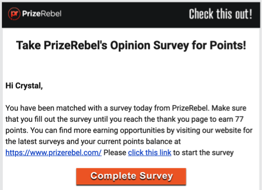 PrizeRebel Survey