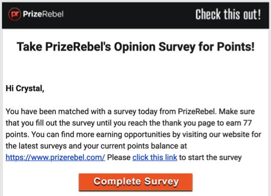 PrizeRebel Survey