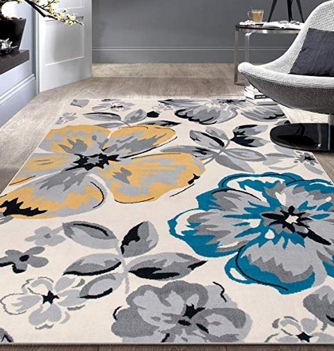 Rugshop Modern Floral Area Rug, 5' x 7', Cream
