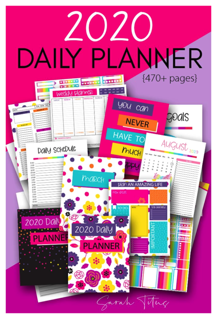 picture regarding Free Printable Planners identified as Cost-free Printable 2019-2020 Each day Planner Financial Conserving Mother