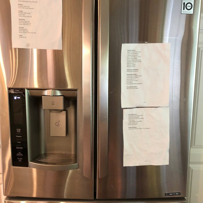 menu plan on fridge