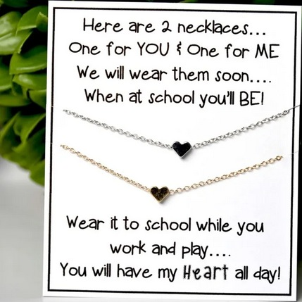 Back to School Heart Necklaces
