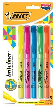 BIC Brite Liner Highlighters 5-Pack Only $0.49